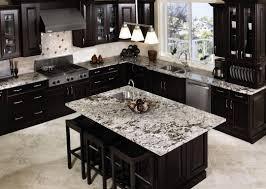 Kitchen Backsplash Dark Cabinets L Shaped Natural Stone Grill