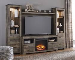 Living Room Wall Units With Fireplace Signature Design By Ashley Trinell Rustic Large Tv Stand W