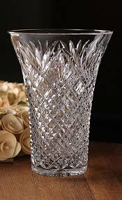 Vintage Waterford Cut Glass Crystal Vase Starburst Pattern Antique Vintage Cut Lead Crystal Glass Diamond Ribbed Footed