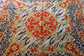 vintage lanvin paris 100 silk scarf leopard and tiger print red