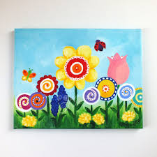 art for kids room flower garden 14x11 canvas painting by njoyart