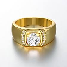 size 7 13 2015 new 18k plated classic gold men rings black yilinger exquisite men jewelry gold plated classic cubic zirconia