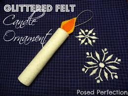 glittered felt candle ornament for groups to make