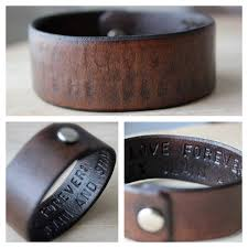 leather wrist bracelet images Hidden message mens leather wrist cuff bracelet choose your text jpg