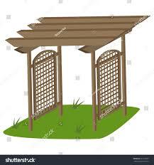 garden trellis teak garden vector cartoon stock vector 621912023