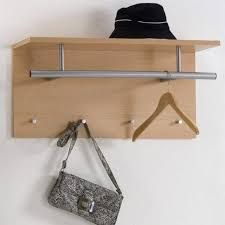 furniture un polish wooden wall mounted hat shelf with steel coat