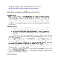 Resume Format For It Jobs by Business Analyst Sample Resume For Pharmaceutical Companies Use