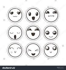 doodle emoticon set lovely kawaii emoticon doodle stock vector 613026647