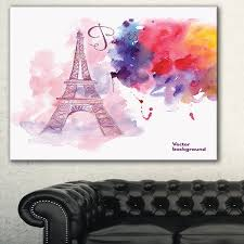 designart u0027eiffel tower in cloud of colors u0027 watercolor painting