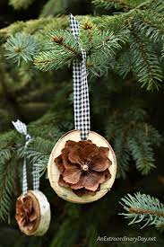 how to make simple rustic birch and pine cone ornaments