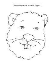 groundhog mask or stick puppet kindergarten 1st grade worksheet