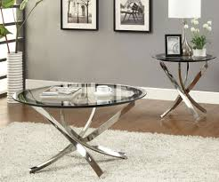 glass coffee table decor silver round minimalist metal glass coffee table and end table sets