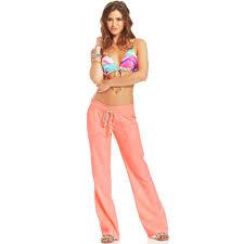 roxy juniors oceanside wideleg drawstring pants in orange lyst