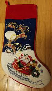 needlepoint christmas new wool needlepoint christmas w 4 flying reindeer santa