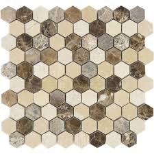 dream gallery hexagon brown polished u0026 unpolished stone tile