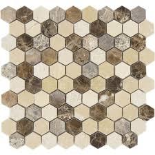 Hexagon Tile Kitchen Backsplash Dream Gallery Hexagon Brown Polished U0026 Unpolished Stone Tile