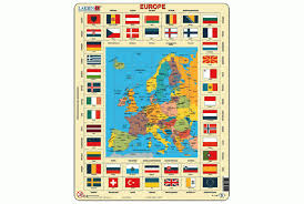 map of europe with country names and capitals europe with flag border jigsaw maps
