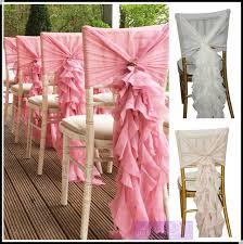Wedding Chair Sash Fancy Chiffon Ruffled Wedding Chair Covers Chair Sash Hood Banquet