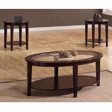 oval coffee table round side tables set wood glass tabletop 3