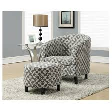 ottoman and accent chair accent chair with ottoman grey circular print rona