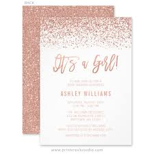 baby girl baby shower invitations modern faux gold glitter girl baby shower invitations print