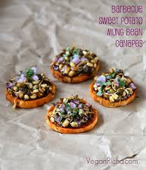 indian canapes ideas potato canapes with barbecue mung bean sprouts vegan