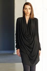 Draped Black Dress Black Drape Tunic Reversible Black Dress Long Sleeves Tunic