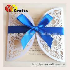 Royal Blue Wedding Invitations Couple Hearts White Pearl Paper Laser Cut Korean Wedding