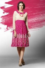 beige magenta georgette with embroidery work fancy party wear kurti