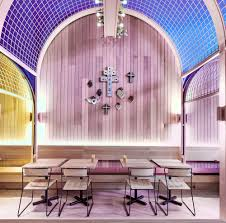 200 sqm modern colorful restaurant interior design with inserted