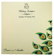 Indian Marriage Invitation Cards Wedding Invite With Peacock Feather Designs
