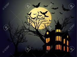 halloween background with haunted house bats and pumpkin royalty