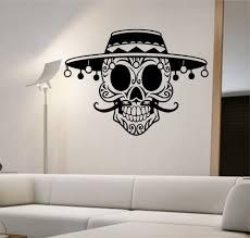 online get cheap sugar skull vinyl aliexpress com alibaba group removable home decoration mustache sugar skull with hat vinyl wall decal sticker art decor bedroom design