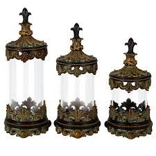 fleur de lis canisters for the kitchen casa cortes antiqued gold fleur de lis 3 glass cylinder
