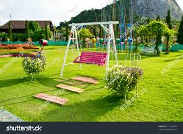 Chair In Garden Wood Swing Chair Garden Greensony Dsc Stock Photo 111759800