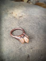 electroforming copper threat ring electroformed with three topaz by studiojardine