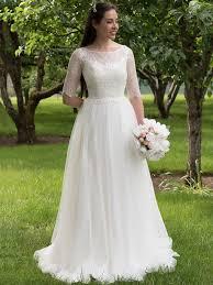 lace 3 4 sleeve wedding dress ivory 3 4 length sleeve lace wedding dress 4011