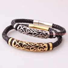 bangle bracelet man stainless steel images Casual men jewelry black braided leather bracelet men stainless jpg
