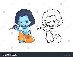 cartoon krishna flute coloring stock vector 446436202
