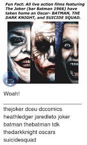 Dark Knight Joker Meme - fun fact all live action films featuring the joker bar batman 1966