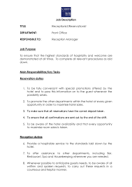 Front Desk Secretary Jobs by Job Description How To Write A Job Description Templates Free