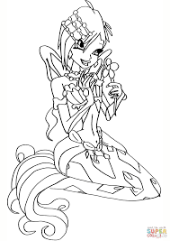 mermaid tecna coloring page free printable coloring pages