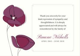 thank you for sympathy card funeral thank you card templates canva