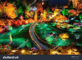 beautiful garden night scene christmas butchart stock photo