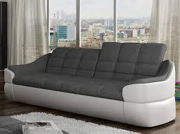 avis canap vente unique canapé en tissu et simili gris blanc ou gris noir farez