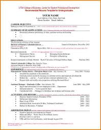 Utsa Resume Template Resume Examples Sample For College Student Seeking Pertaining To