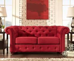 chesterfield tufted loveseat red tuxedo sofa rolled arm couch