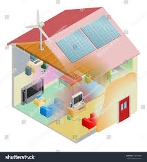 energy efficient home house cavity wall stock vector 106553084