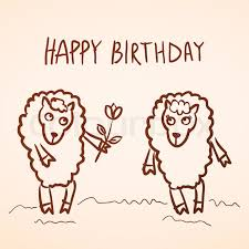 funny sheep and boy with flower sketch vector simple