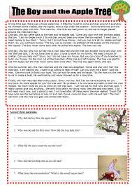 the boy and the apple tree worksheet free esl printable
